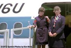1973 - United Airlines flight attendants. This was the year I began to fly.  This was my first uniform.