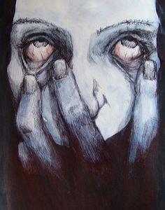 insomnia by dispheria on DeviantArt Art Alevel, Dark Drawings, Face Sketch, Aesthetic Painting, Arte Horror, Dark Photography, Red Lipsticks, Insomnia, Dark Art