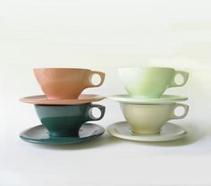 Vintage Melmac Melamine Coffee Cup & Saucer Set - Bootonware Belle Pattern - Mid Century Set of Four by TheInspiredTrader on Etsy https://www.etsy.com/listing/164139844/vintage-melmac-melamine-coffee-cup