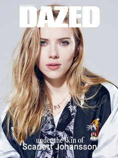 Scarlett Johansson wears Satin Bomber Jacket from Carl Manzi and printed shirt, vest and SJ Necklace by Saint Laurent by Hedi Slimane