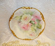 Six (6) Stunning - Pouyat - Limoges - French - Porcelain Plates - Hand Painted - Sweetheart Roses - Artist Signed - Museum Quality - Only Fine Lines