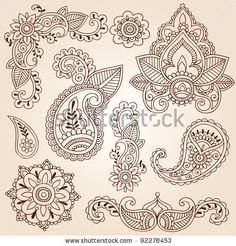 stock vector : Henna Mehndi Doodles Abstract Floral Paisley Design Elements, Mandala, and Page Corner Design Vector Illustration