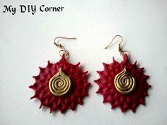 DIY Floral stamped clay Earrings