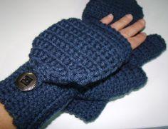 Convertible Fingerless Mittens in Blue Denim Crochet