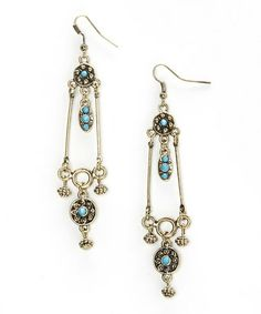 Look what I found on #zulily! Gold & Turquoise Elegant Drop Earrings #zulilyfinds