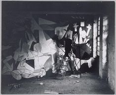 """An officer of the Wehrmacht in Picasso's studio during the occupation of Paris, in reference to a photo of Guernica: """"Did you do this?"""" To which Picasso: """"No, you did"""". Pablo Picasso, Picasso Guernica, Kunst Picasso, Art Picasso, Picasso Paintings, Dora Maar, Artist Life, Artist At Work, Spain"""