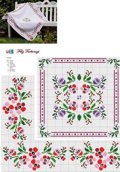 Designed and stitched by Filiz Türkocağı. Cross Stitch Alphabet, Cross Stitch Borders, Cross Stitch Rose, Cross Stitch Flowers, Cross Stitch Charts, Cross Stitch Designs, Cross Stitching, Cross Stitch Embroidery, Cross Stitch Patterns