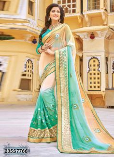 Adorning Beige and Green Coloured Georgette Embroidered Saree