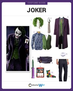 Dress like the Joker from the Batman movies. Get cosplay inspiration and a DIY costume guide for Batman's nemesis, the Joker.