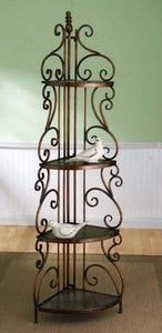 Tuscan French Country corner bakers rack