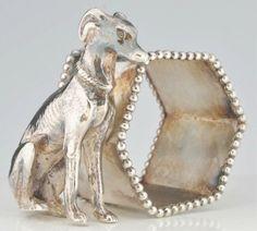 Greyhound Figural Napkin Ring.