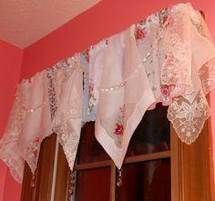 Corgis In My Garden: Vintage Handkerchief Valance with Beads  http://1.bp.blogspot.com/-Fw9I5lkkf0Y/TsdS103zSnI/AAAAAAAADLQ/lbT_Uw9JuTE/s1600/018.JPG