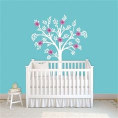One Hip Sticker Chic - White Tree Nursery Wall Decal with Silk Flowers and Gems Tree Decal Nursery, Tree Decals, Kids Wall Decals, Vinyl Wall Stickers, Girl Nursery, Girl Room, Baby Room, Nursery Art, Nursery Ideas