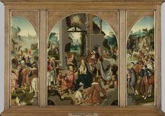 Drieluik met de aanbidding der koningen (middenpaneel en binnenzijde vleugels), de heilige Antonius Abt (buitenzijde linkervleugel) en de heilige Adrianus (buitenzijde rechtervleugel), Meester van Alkmaar, ca. 1500 - ca. 1504
