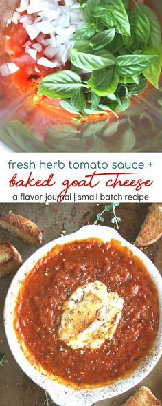 creamy, tangy goat cheese and fresh herb tomato sauce are the ULTIMATE pair! this appetizer is perfect for date night at home - and so easy to make! baked goat cheese in fresh herb sauce Cheese Appetizers, Best Appetizers, Appetizer Dips, Appetizer Recipes, Baked Goat Cheese, Roasted Tomato Sauce, Recipe Creator, Everyday Food, Meals For Two