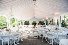 Love the subtle blush lighting Pretty Open tent wedding reception