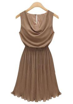 Khaki Pleated V-neck Sleeveless Above Knee Chiffon Dress
