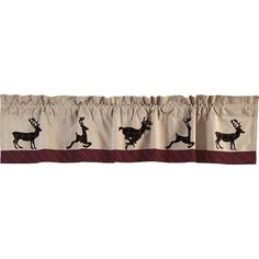 Answer the call of the wild with this rugged but stylish Dubay Deer Window Valance. Espresso brown and white windowpane plaid deer prance along its bottom. A textured khaki chambray and crimson striped Country Style Curtains, Country Decor, Rustic Decor, Western Decor, Plaid Fabric, Striped Fabrics, Lined Curtains, Valance Curtains, Cottage Curtains