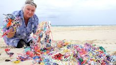 Balloons are killing our turtles  -  Mary Pollard has collected hundreds of burst helium balloon remnants from Flinders Beach on North Stradbroke Island and is concerned about their impact on marine life. Photo by Chris McCormack