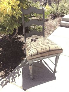 Love this feed sack chair
