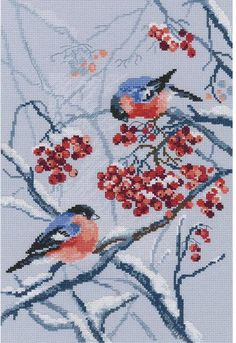 RTO Bullfinches In Rowanberries - Cross Stitch Kit. This bird themed cross stitch kit contains 100% cotton floss, 14 count Aida fabric, one needle, a chart and