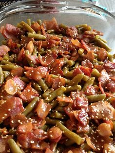 Arkansas Green Beans - They taste like candy!  Green Beans, bacon, sugar, butter, soy sauce and garlic