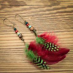 boucle d'oreille style bohème vert et pourpre : Boucles d'oreille par gg-naturaboutik