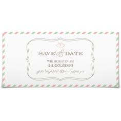 Save the Date Par Avion in Antikrosa - Postkarte lang #Hochzeit #Hochzeitskarten #SaveTheDate https://www.goldbek.de/hochzeit/hochzeitskarten/save-the-date/save-the-date-par-avion?color=antikrosa&design=3a5d1