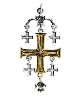 The Knights Templar were so named from Jerusalem's ancient Solomon's Temple which became their headquarters in the 12th Century. The five crosses represent the Universal absolutes of Earth, Air, Fire, Water, and Spirit. The wearer of Jerusalem Cross is a True Seeker of Worldly and Spiritual Riches.