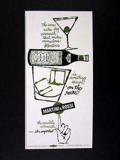 1962 Martini & Rossi Vermouth olive bottle rocks glass art vintage print Ad