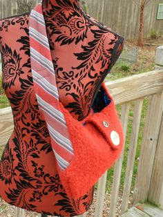 Upcycled  Red Wool Sweater purse by cbrandt12 on Etsy, $30.00
