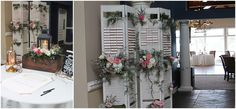 Bi-Folding doors / Shutters used as seating place card display // Flowers by Little Miss Lovely Floral Design at Lighthouse Sound, Ocean City
