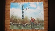 """WATER COLOR PAINTING BY HENRY BROWN-""""THE CLAM DIGGER"""" WITH NC LIGHTHOUSE BACDR"""