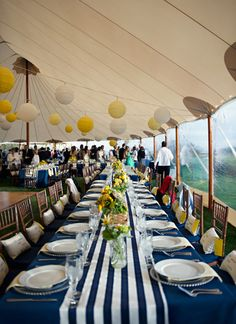 Yellow and Blue Wedding-striped table runners...
