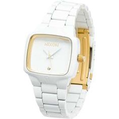 """nixon """"the player"""". Nice simple watch, with a real diamond in it. Stainless Steel Jewelry, Stainless Steel Watch, Cool Watches, White Watches, Nixon Watches, Bellisima, Jewelry Stores, Jewelry Accessories, Bling"""