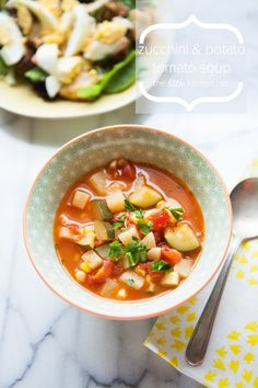 Zucchini and Potato Tomato Soup from The Little Kitchen... Use Vegetable stock instead of Chicken stock for a Vegetarian Recipe
