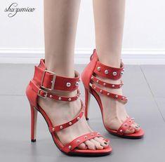 75d2bf78c6a8 Hot 2018 Women Shoes Sandals Summer Fashion Rivet Zip Roman Female Sandals  Shoes Cool Ultra High Heels 11.5 cm Flock Ladies Shoes Price  47.52   FREE  ...
