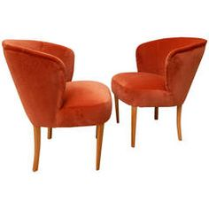 Pair of Swedish Upholstered Chairs, Carl Malmsten for O.H. Sjögren, circa 1950
