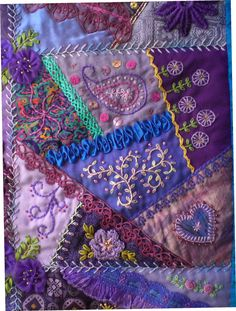 I ❤ crazy quilting & embroidery . . . beautiful, Block 4 - Crazy patchwork wall quilt. 26 x 32 inches ~By marcie carr