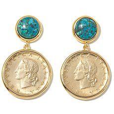 Bellezza Lira Coin Turquoise Bronze Drop Earrings
