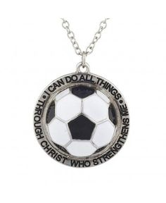 Lux Accessories Silver I Can Do All Things Religious soccer ball Charm Necklace: Jewelry Charm Jewelry, Jewelry Sets, Fine Jewelry, Charm Necklaces, Soccer Accessories, Fashion Accessories, Sterling Silver Cross, Bar Necklace, Soccer Ball