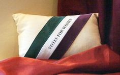 """Votes for Women"" Miniature pillow inspired by women's suffrage women's movement,"