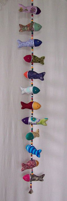 Handmade fabric fish hanging mobile unique by IMakeSmartyPants