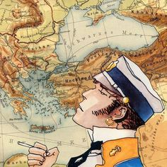 Corto Maltese in front of a 1925 map of Turkey and the Balkans. Art And Illustration, Illustrations And Posters, Edouard Hopper, Hugo Pratt, Bd Art, Jordi Bernet, Book Creator, Western Comics, Comic Kunst