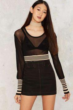 Vintage Lace-Up the Ex Denim Skirt - Vintage