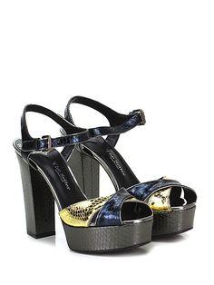 THE SELLER - Sandalo alto - Donna - Sandalo alto in pelle laminata effetto rettile con cinturino alla caviglia e suola in cuoio. Tacco 125, platform 35 con battuta 90. - NERO\ORO - € 210.00