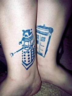 doctor who tattoo. Could be used as a couples/friendship tattoo as well! (Besides the Dalek. Lol)