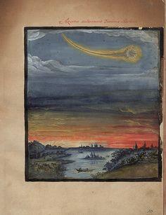 Kometenbuch (The Comet Book), 1587 Aczime aultrement Dominis Aschone (Merkur) Medieval Manuscript, Illuminated Manuscript, World Images, Art Images, Renaissance, Gouache, Illusion, Solis, Sea Monsters
