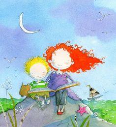 A summer full of shared readings / Un verano lleno de lecturas compartidas (ilustración de Marie-Louise Gay)