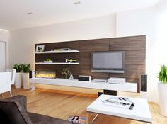 Furniture and Accessories. Great Modern Interior Designing Ideas. Modern Interior Design Feature Wooden Floor Material With Arraying Set And Wooden Wall Accent With Darken Theme Plus Squared White Table With Stainless Steel Legs Together With White Tv Stand With Wall Mounted Led Tv And Floating Bookcase